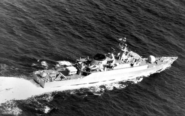 A starboard quarter view of the Iranian destroyer escort ITS ROSTAM (DE-73), now redesignated the frigate IS SABALAN (F-73). NOTE: This vessel was heavily damaged on 19 April 1988 by air attack of units of CVW-11 from the USS ENTERPRISE (CVN-65) in retaliation for the mining of the USS SAMUEL B. ROBERTS (FFG-58) in the Persian Gulf. The ship was reported under repair but as of 1991 has not yet been seen in service