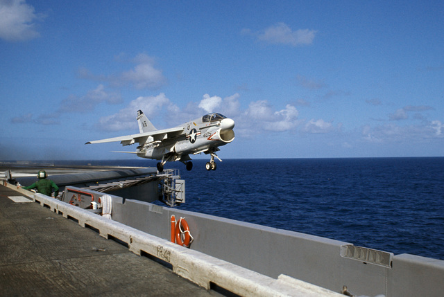 An Attack Squadron 72 (VA-72) A-7E Corsair II aircraft is launched from the nuclear-powered aircraft carrier USS DWIGHT D. EISENHOWER (CVN 69). The aircraft later crashed after launching