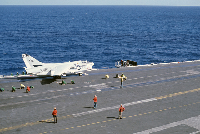 An Attack Squadron 72 (VA-72) A-7E Corsair II aircraft prepares for launching from the nuclear-powered aircraft carrier USS DWIGHT D. EISENHOWER (CVN 69). The aircraft later crashed after launching