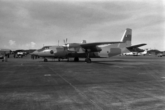 A Soviet-built An-26 Curl aircraft of the Peruvian air force is parked on the flight line during a stopover on its delivery flight to Peru. Exact Date Shot Unknown