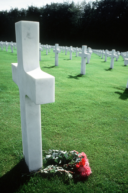 The white crosses of Americans soldiers killed in World War II in the American cemetery in Luxembourg. Exact Date Shot Unknown
