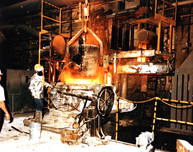 Hot metal is put back into the furnace after ladle runout at the Rock Island Arsenal