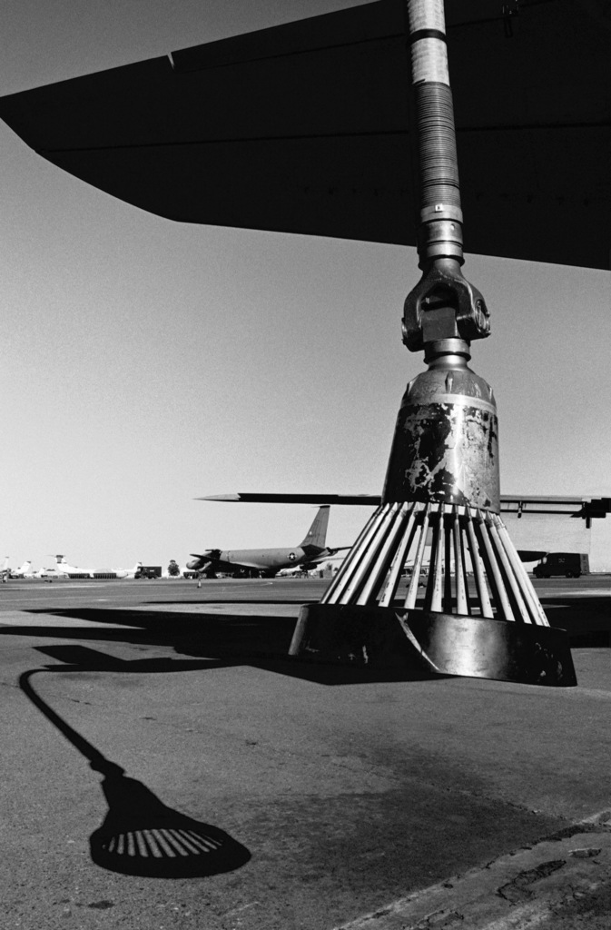 A view of the refueling boom drogue of a KC-135 Stratotanker aircraft from the 307th Air Refueling Squadron