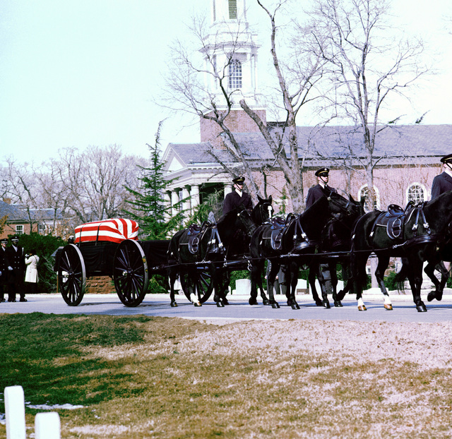 Funeral of GEN Daniel (Chappie) James is being conducted in the Shrine of the Immaculate Conception at Catholic University, Washington, D.C. Honor Guard horse casket carriers lead the procession in Arlington National Cemetery