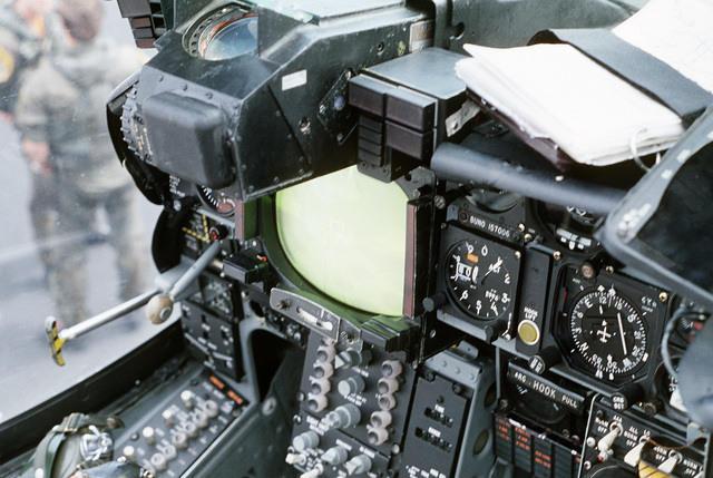 A view of the pilot's controls in the cockpit of an A-6E Intruder aircraft
