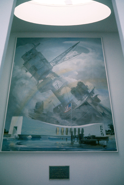 A painting inside the USS Arizona Memorial depicts the ship sinking after being attacked by Japanese aircraft on December 7, 1941