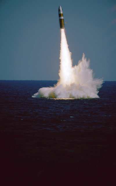 A Poseidon C3 missile is launched from the nuclear-powered strategic missile submarine USS Daniel Boone (SSBN 629)