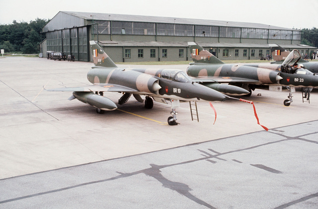 A right front view of a Belgian Mirage aircraft parked on the flight line during TACTICAL AIR MEET '78
