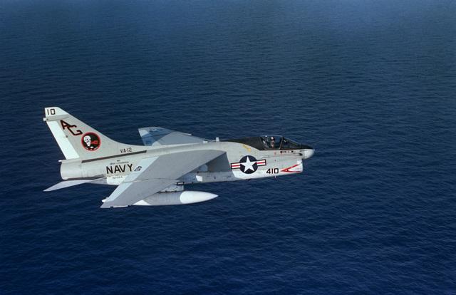 An air to air right side view of an Attack Squadron 12 (VA 12) A-7E Corsair II aircraft