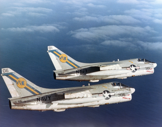 An air to air right side view of two Attack Squadron 66 (VA-66) A-7E Corsair II aircraft