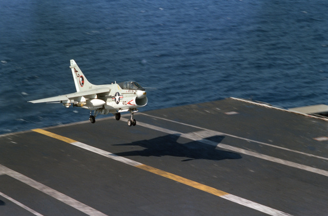 An Attack Squadron 12 (VA-12) A-7E Corsair II aircraft lands aboard the nuclear-powered aircraft carrier USS DWIGHT D. EISENHOWER (CVN 69)