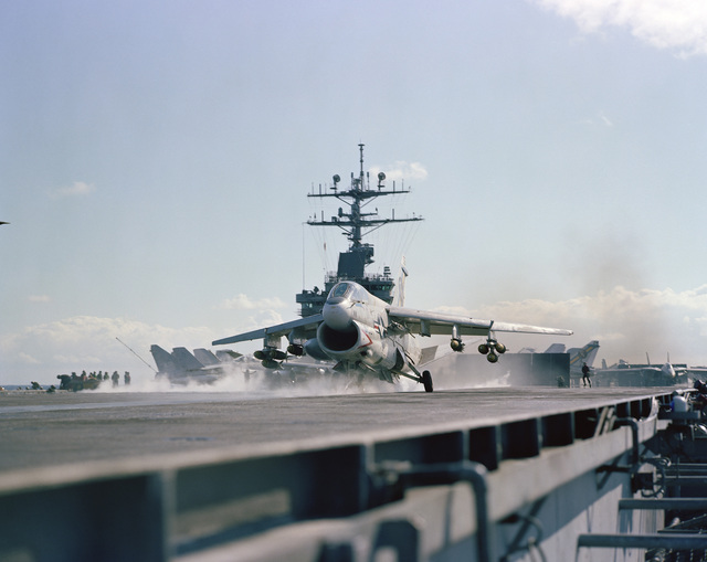 An Attack Squadron 66 (VA-66) A-7E Corsair II aircraft is launched from the nuclear-powered aircraft carrier USS DWIGHT D. EISENHOWER (CVN 69). The aircraft is armed with six Mark 82 500-pound bombs, two Mark 82 retarded delivery bombs and an AIM-9 Sidewinder missile