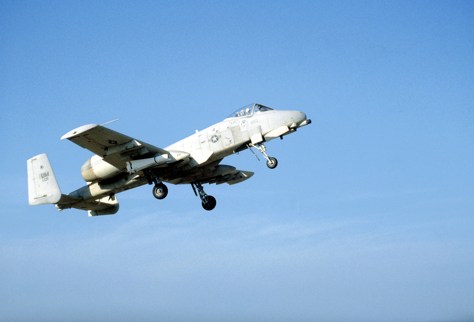 An A-10A Thunderbolt II aircraft takes off on a flight to