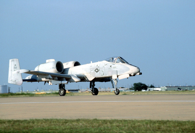 An A-10A Thunderbolt II aircraft takes off on a flight to Fort Hood, Texas, to participate in a firepower demonstration for President Carter. The aircraft is assigned to the 355th Tactical Fighter Wing
