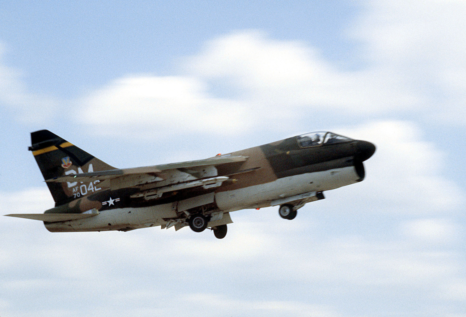 An A-7D Corsair II aircraft takes off on a flight to Fort Hood, Texas, to participate in a firepower demonstration for President Carter