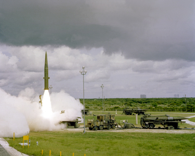 An MGM-31A Pershing 1a battlefield support missile is fired by Battery D, 1ST Battalion, 81st Field Artillery, U.S. Army Europe