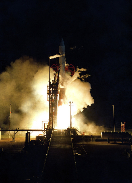 An Atlas-Centaur launch vehicle carrying the Pioneer Venus-2 space probe lifts off from the launch pad