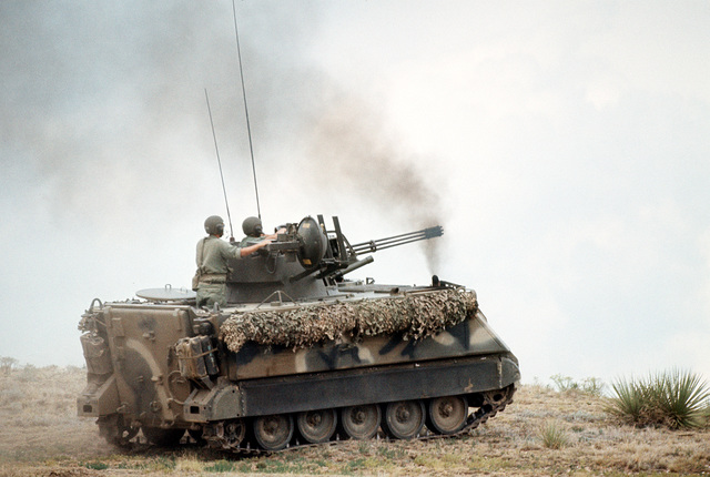 An M-163 Vulcan self-propelled anti-aircraft gun maneuvers into firing position during Joint Readiness Exercise Brave Shield XVIII