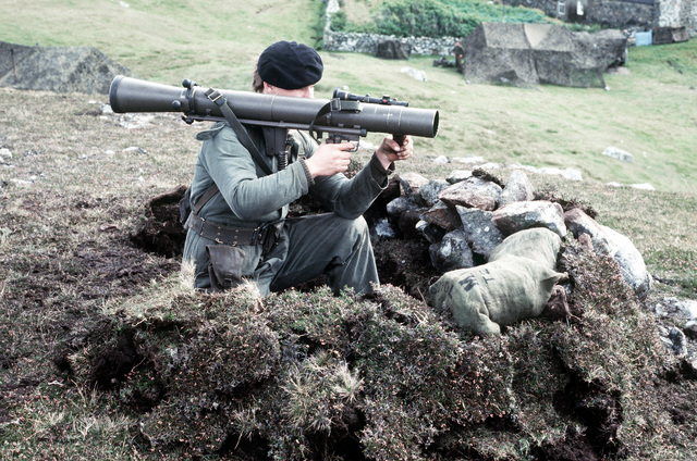 A Dutch Marine aims at his target as he looks through the sight of his 84mm Carl Gustaf anti-tank system. The Dutch Marines are participating in the NATO exercise Northern Wedding