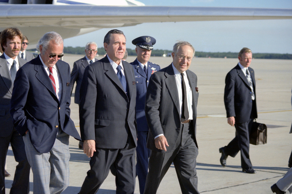 Soviet Foreign Minister Andrei Gromyko (left of center) arrives in the US for a state visit