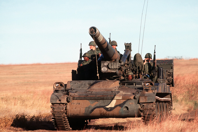 A left front view of an M-110 203mm self-propelled howitzer during a training exercise