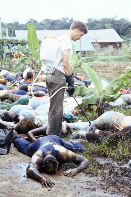A member of the US Army sprays disinfectant over the bodies of Jonestown victims before placing them into plastic body bags for removal to Georgetown