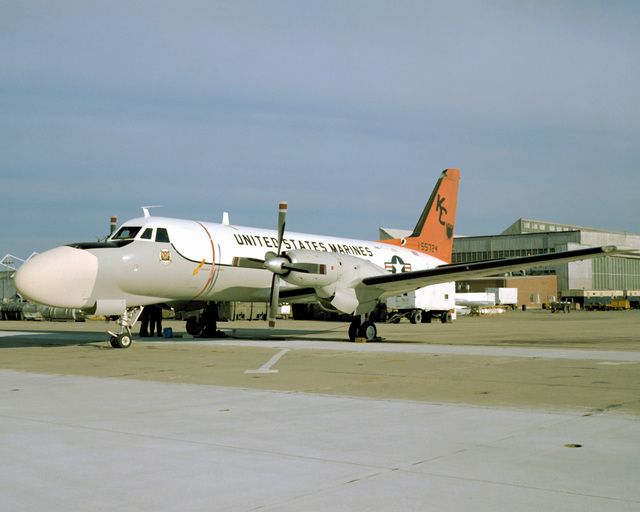 Left front view of a Marine TC-4C, classroom aircraft, used to train bombardiers and navigators for the A-6A Intruder aircraft. The TC-4C is sitting on the flight line and is attached to Marine All-Weather Attack Squadron (Training) 202