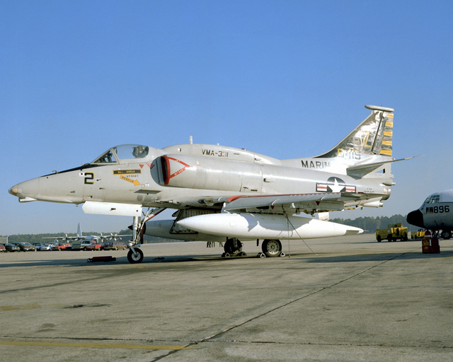 Left side view of a Marine A-4M Skyhawk aircraft sitting on the flight line. The A-4M is from Marine Light Attack Squadron 331 (VMAL-331)