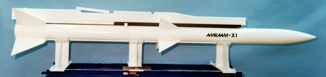 Full-scale model of an advanced medium-range air-to-air missile with a single-rail launcher attached