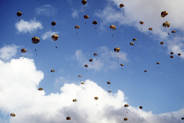 Paratroopers from the 82nd Airborne Division descend upon Gatun drop zone during a training exercise