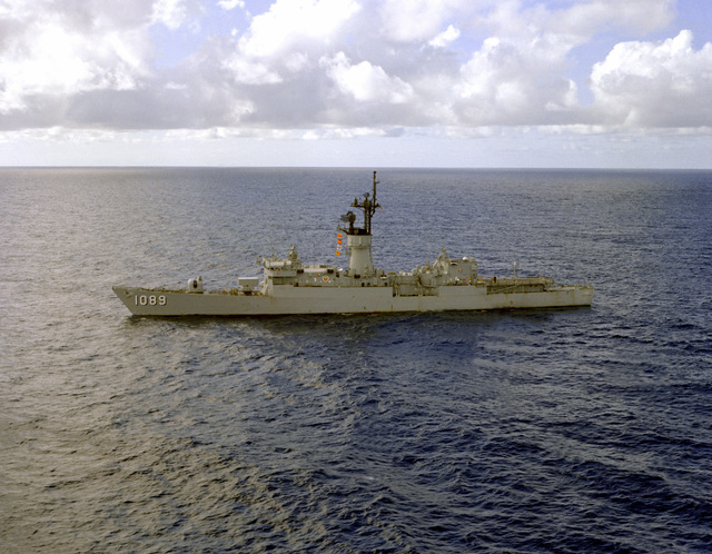 An aerial port beam view of the frigate USS JESSE L. BROWN (FF-1089)