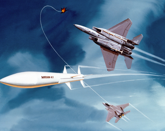 Artist's concept of advanced medium-range air-to-air missiles fired by F-16 Fighting Falcon aircraft