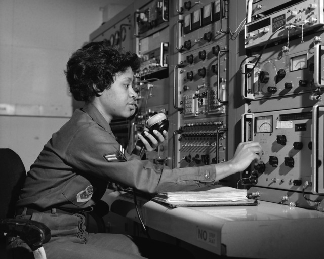 AIRMAN First Class (A1C) Paulette Sewell of the 513th Organizational Maintenance Squadron conducts a check on ground communications equipment