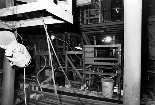 An interior view of auxiliary machine room No. 1 onthe guided missile frigate USS ANTRIM (FFG 20) at 20 percent completion
