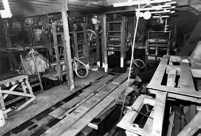 An interior view of auxiliary machine room No. 3 on the guided missile frigate USS ANTRIM (FFG 20) at 20 percent completion