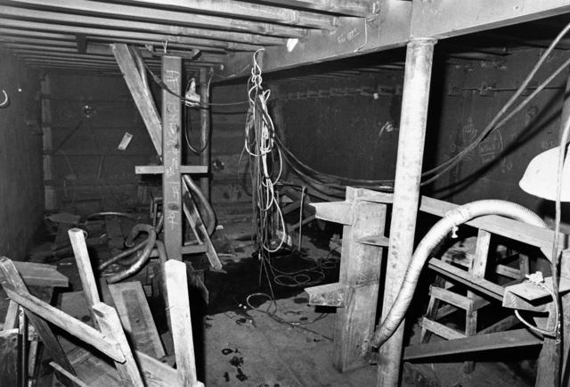 An interior view of the air conditioning room on the guided missile frigate USS ANTRIM (FFG 20) at 20 percent completion