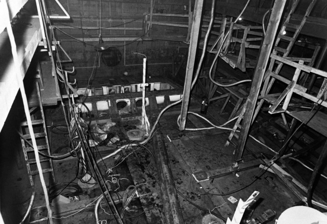 An interior view of the engine room on the guided missile frigate USS ANTRIM (FFG 20) at 20 percent completion