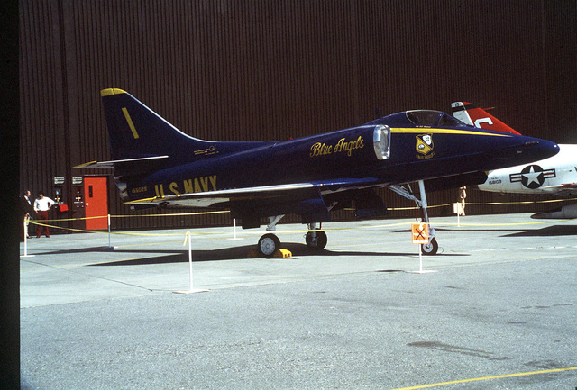 A Blue Angels A-4E Skyhawk aircraft is on display along with the exhibit and ceremony for the last Skyhawk built by McDonnell Douglas Corporation