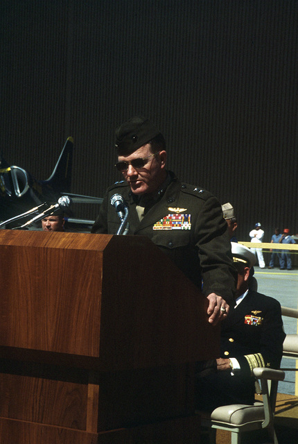 MGEN Leo J. LeBlanc Jr., commanding general, 33rd Marine Air Wing, speaks to the honored guests and spectators at the ceremony for the last A-4 Skyhawk aircraft built by McDonnell Douglas Corporation