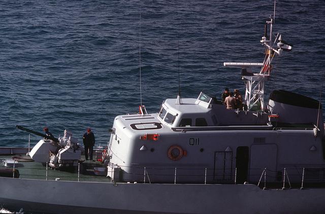 A port amidships view of the Qatarian large patrol craft BARZAN (Q 11)