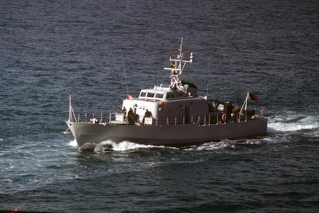 A port bow of the Qatarian large patrol craft FATEH-AL-KHAIR (Q 15) underway