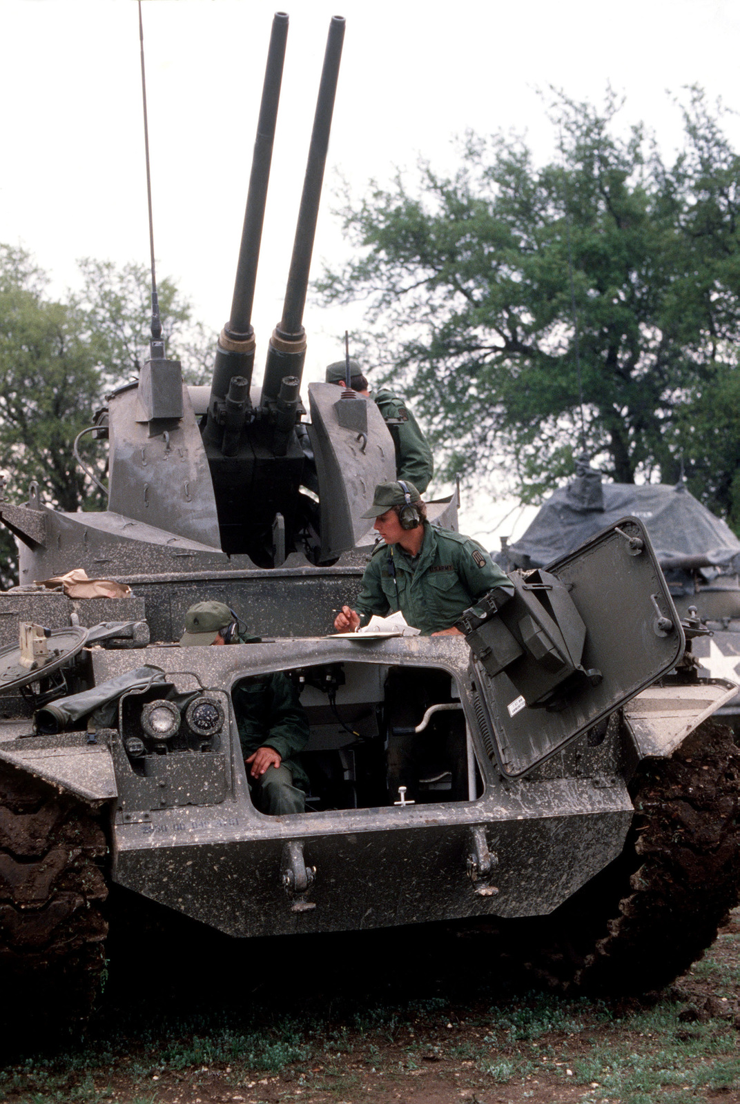 A front view of an M-42A1 40mm self-propelled anti-aircraft gun being prepared for action during joint Air Force and US Readiness Command training exercise Brave Shield XIX