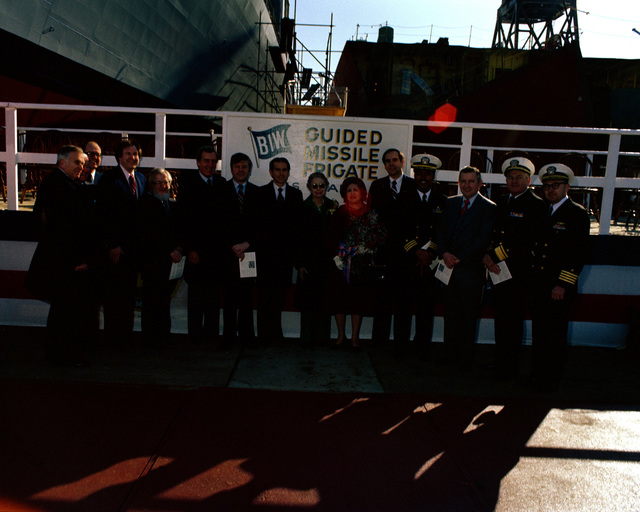 A view of distinguished guests attending the launching ceremony for the guided missile frigate CLARK (FFG-11) at Bath Iron Works