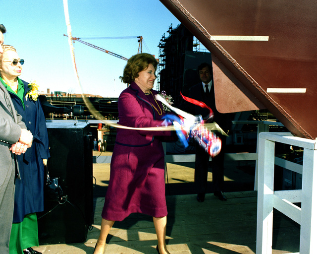 The guided missile frigate CLARK (FFG-11) is christened during its launching ceremony at Bath Iron Works