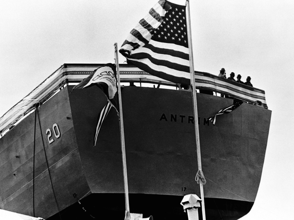 A view of the stern of the guided missile frigate ANTRIM (FFG-20) on the ways prior to its launching at Todd Pacific Shipyards Corporation