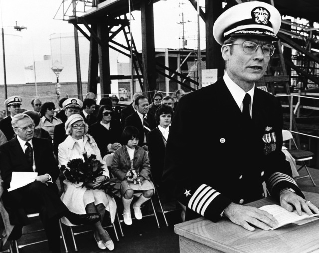 CAPT James K. Nunneley from Naval Sea Systems Command speaks at the launching ceremony for the guided missile frigate ANTRIM (FFG-20) at Todd Pacific Shipyards Corporation