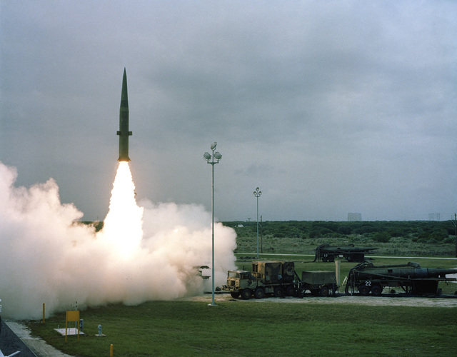 An MGM-31A Pershing 1a battlefield support missile is launched from Complex 16 by members of the US Army, Europe