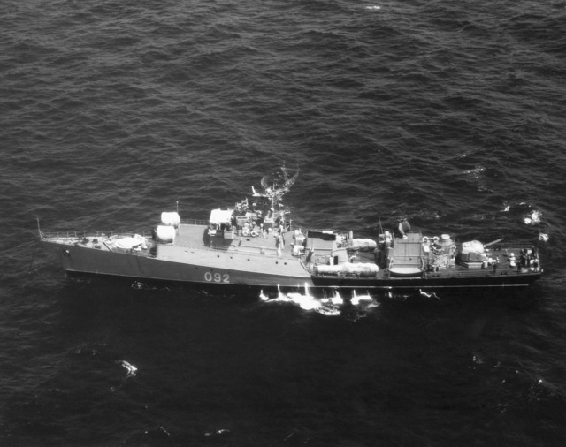 An elevated port beam view of a Soviet Grisha III light frigate underway