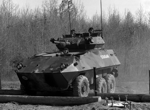 The Canadian armored vehicle general purpose (AVGP) doesn't have any problem going over obstacles during a mobility demonstration at the Murphy Demonstration Area