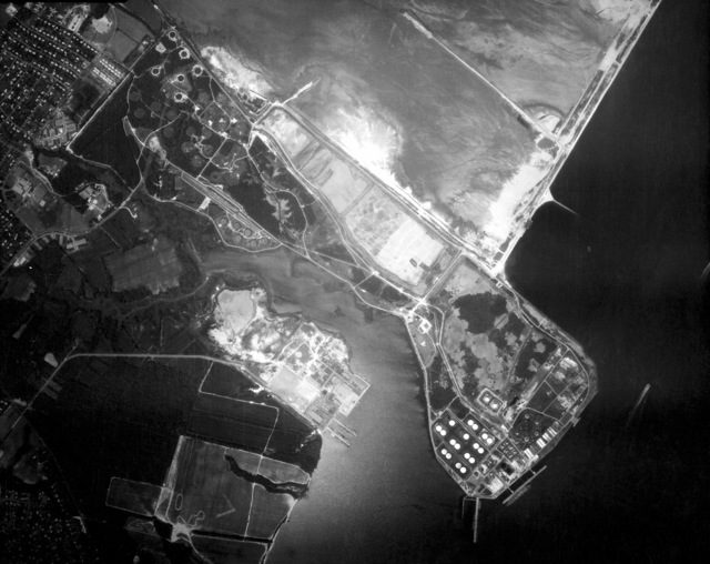 An aerial view of the US Naval Refueling Depot on Craney Island. (SUBSTANDARD)